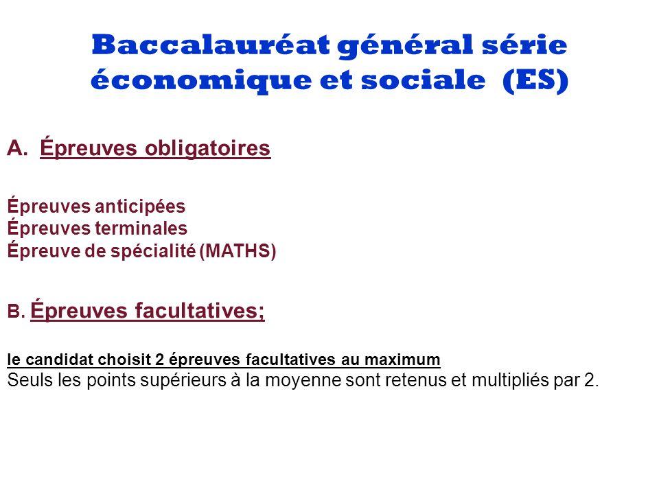 Baccalauréat général série économique et sociale (ES) Liste des épreuvesCoefficientsNature de l épreuveDurée 1.