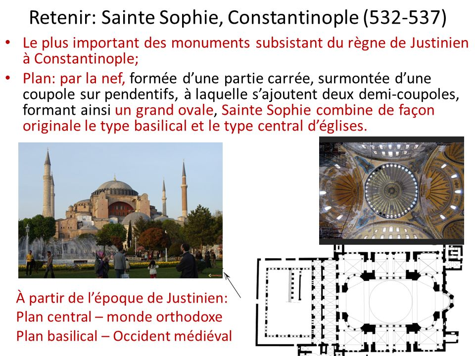 Retenir: Sainte Sophie, Constantinople (532-537) Le plus important des monuments subsistant du règne de Justinien à Constantinople; Plan: par la nef,