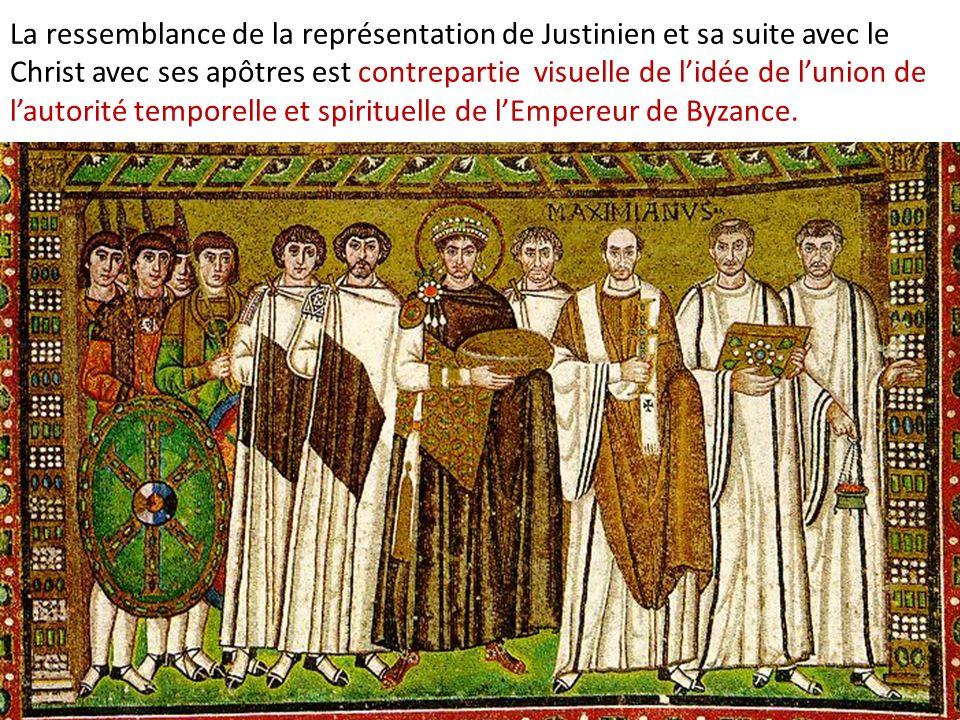 La ressemblance de la représentation de Justinien et sa suite avec le Christ avec ses apôtres est contrepartie visuelle de lidée de lunion de lautorit