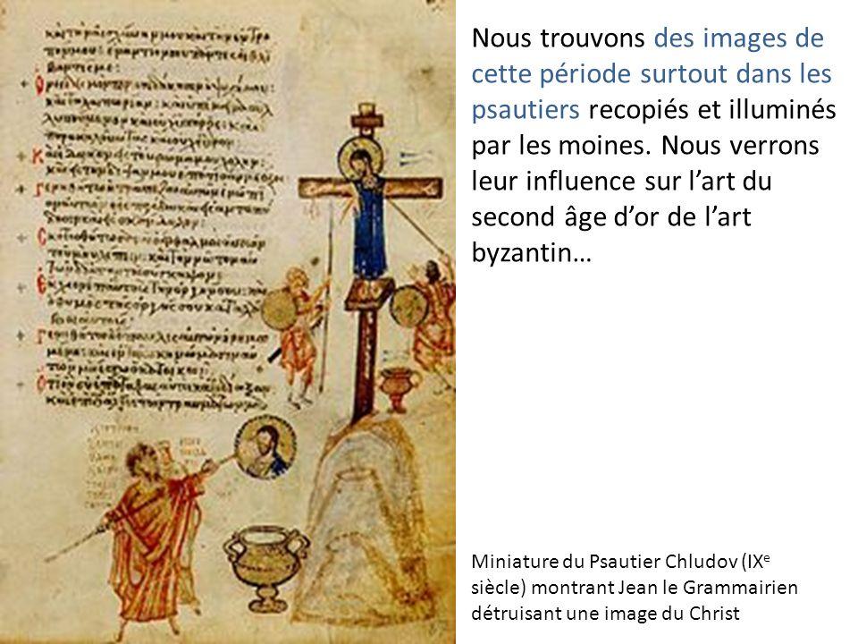 Nous trouvons des images de cette période surtout dans les psautiers recopiés et illuminés par les moines. Nous verrons leur influence sur lart du sec