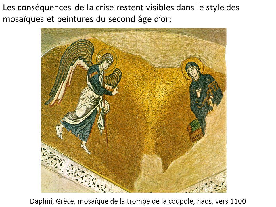 Daphni, Grèce, mosaïque de la trompe de la coupole, naos, vers 1100 Les conséquences de la crise restent visibles dans le style des mosaïques et peint