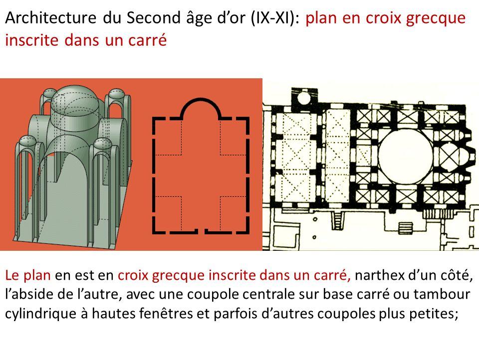 Architecture du Second âge dor (IX-XI): plan en croix grecque inscrite dans un carré Le plan en est en croix grecque inscrite dans un carré, narthex d