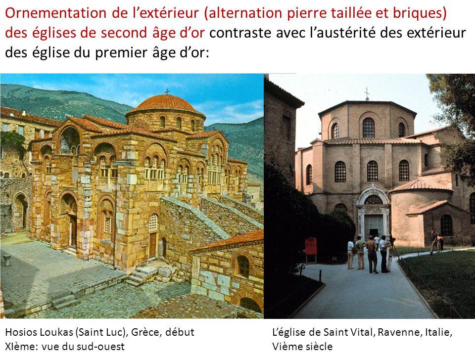 Hosios Loukas (Saint Luc), Grèce, début XIème: vue du sud-ouest Ornementation de lextérieur (alternation pierre taillée et briques) des églises de sec