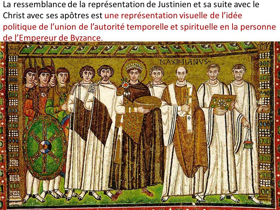 La ressemblance de la représentation de Justinien et sa suite avec le Christ avec ses apôtres est une représentation visuelle de lidée politique de lu