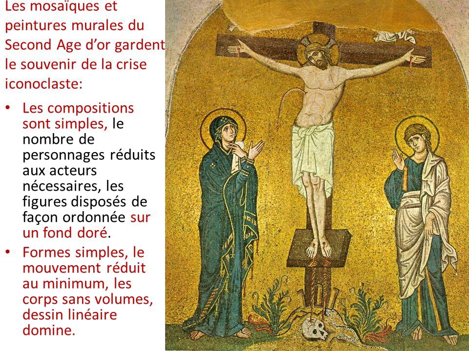 Les mosaïques et peintures murales du Second Age dor gardent le souvenir de la crise iconoclaste: Les compositions sont simples, le nombre de personna