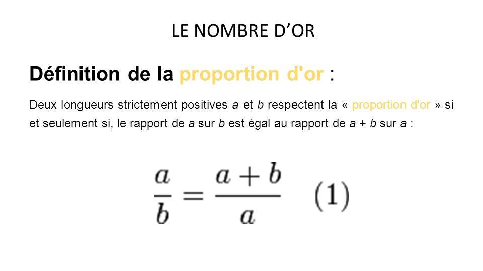 Définition de la proportion d'or : Deux longueurs strictement positives a et b respectent la « proportion d'or » si et seulement si, le rapport de a s