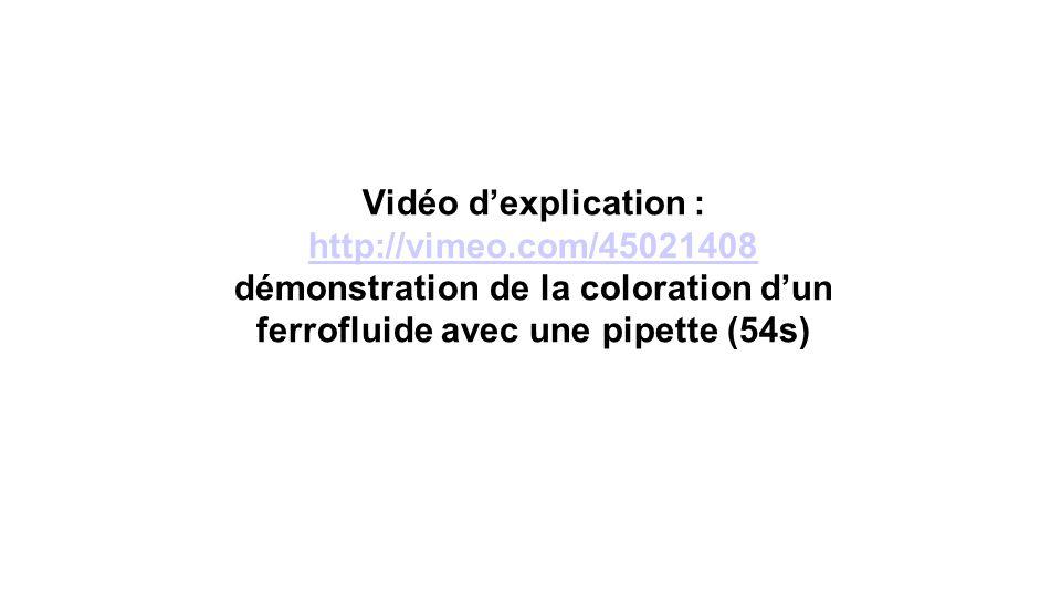 Vidéo dexplication : http://vimeo.com/45021408 démonstration de la coloration dun ferrofluide avec une pipette (54s) http://vimeo.com/45021408