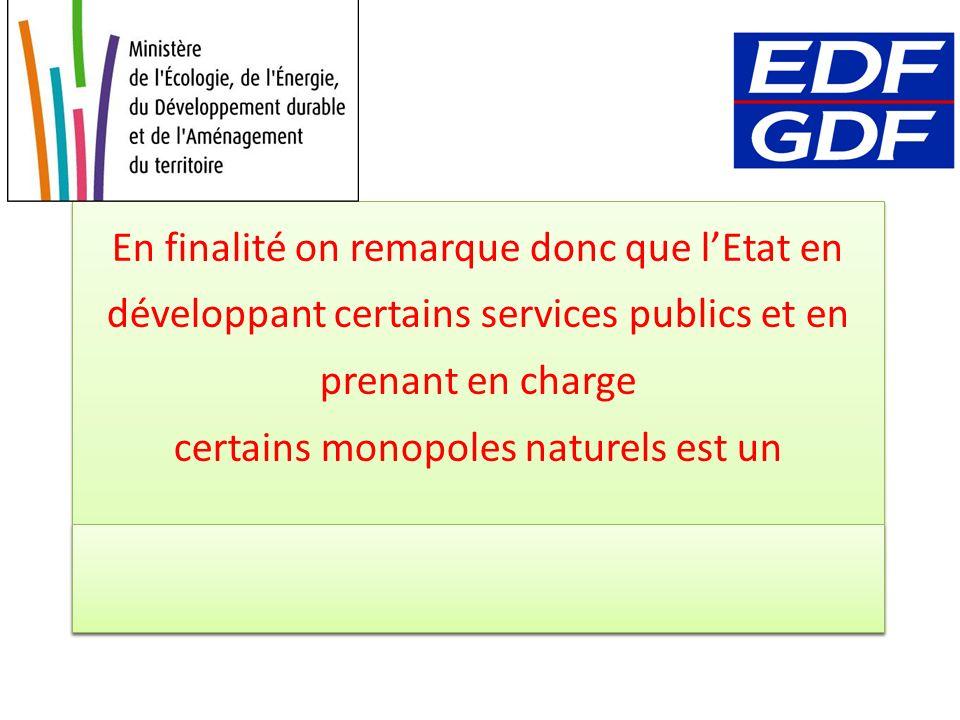 En finalité on remarque donc que lEtat en développant certains services publics et en prenant en charge certains monopoles naturels est un ACTEUR du p