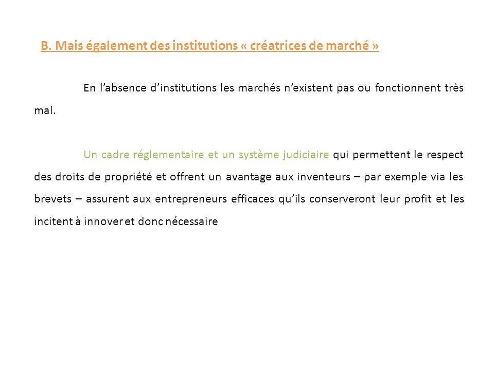 B. Mais également des institutions « créatrices de marché » En labsence dinstitutions les marchés nexistent pas ou fonctionnent très mal. Un cadre rég