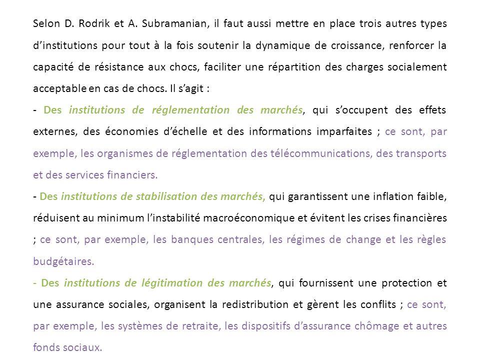 Selon D. Rodrik et A. Subramanian, il faut aussi mettre en place trois autres types dinstitutions pour tout à la fois soutenir la dynamique de croissa