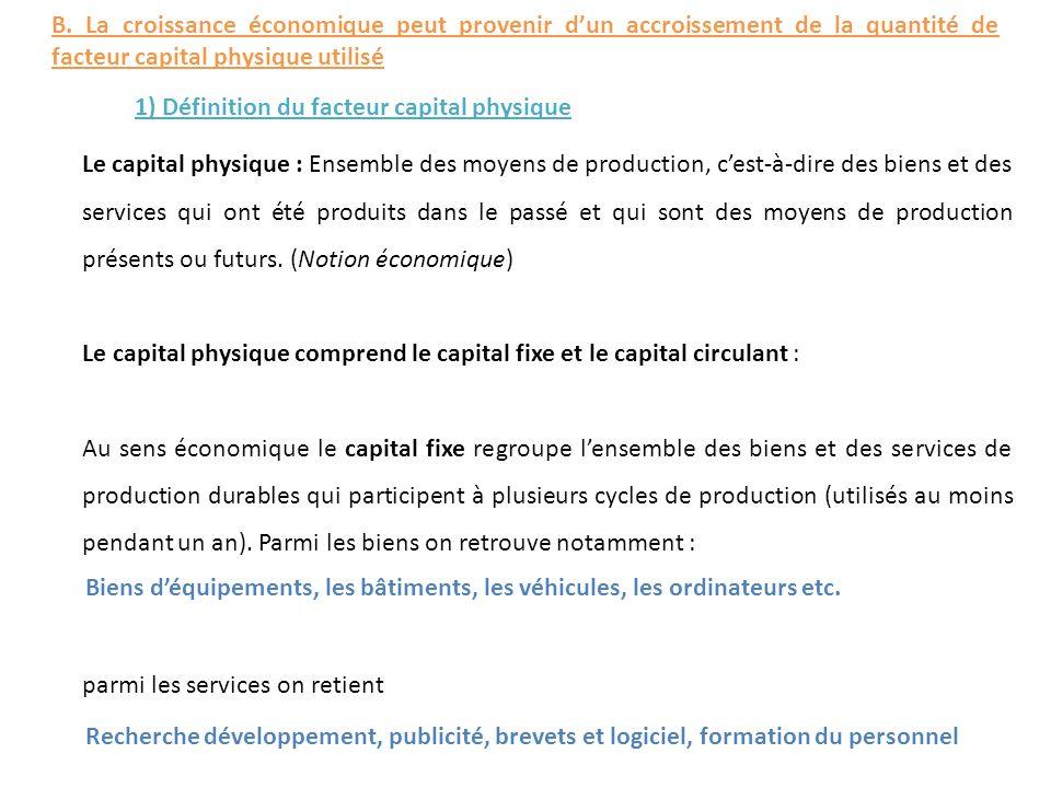 Le capital physique : Ensemble des moyens de production, cest-à-dire des biens et des services qui ont été produits dans le passé et qui sont des moye