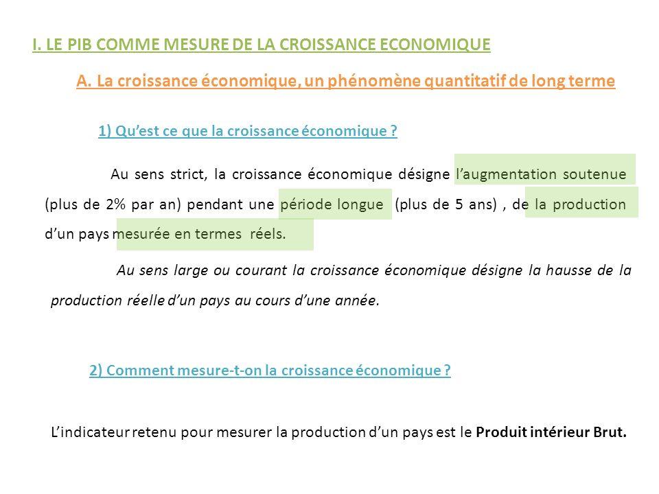 I. LE PIB COMME MESURE DE LA CROISSANCE ECONOMIQUE A. La croissance économique, un phénomène quantitatif de long terme 1) Quest ce que la croissance é