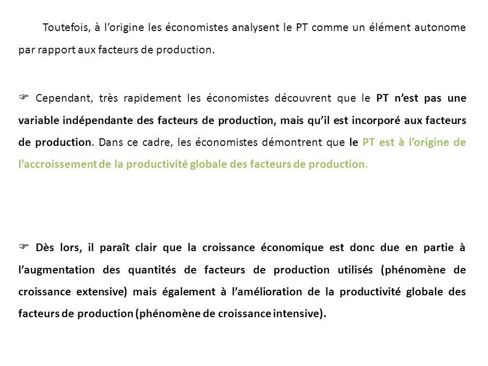 Toutefois, à lorigine les économistes analysent le PT comme un élément autonome par rapport aux facteurs de production. Cependant, très rapidement les