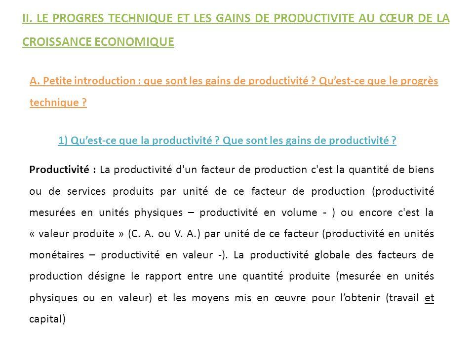 A. Petite introduction : que sont les gains de productivité ? Quest-ce que le progrès technique ? Productivité : La productivité d'un facteur de produ