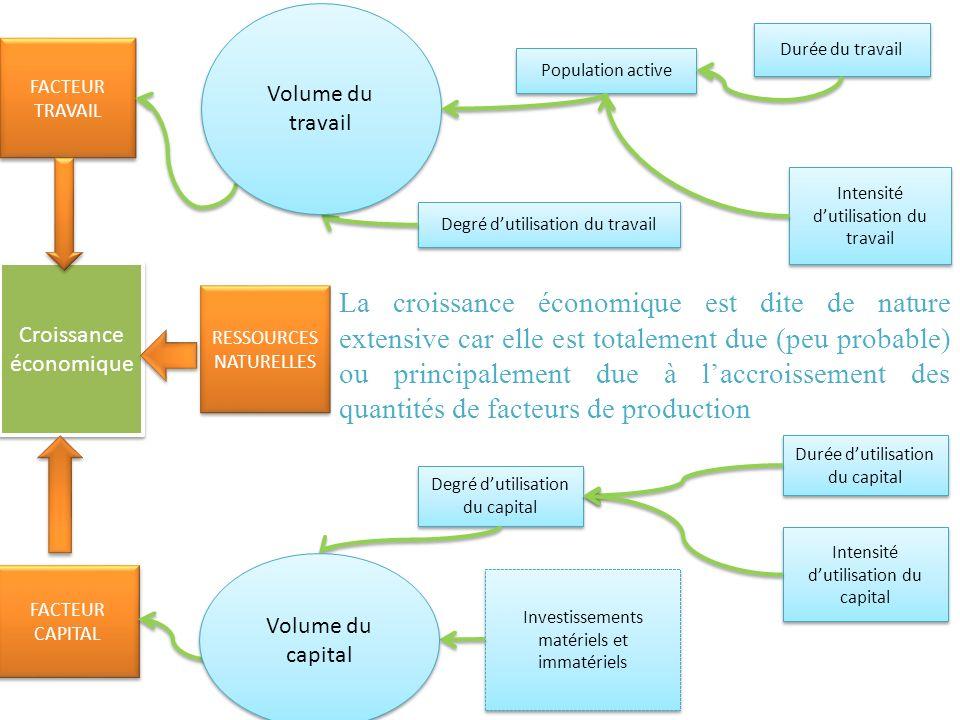 Croissance économique FACTEUR TRAVAIL FACTEUR CAPITAL FACTEUR CAPITAL RESSOURCES NATURELLES RESSOURCES NATURELLES Degré dutilisation du travail Popula