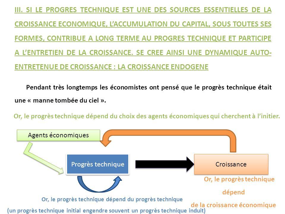 Pendant très longtemps les économistes ont pensé que le progrès technique était une « manne tombée du ciel ». Progrès technique Croissance Agents écon