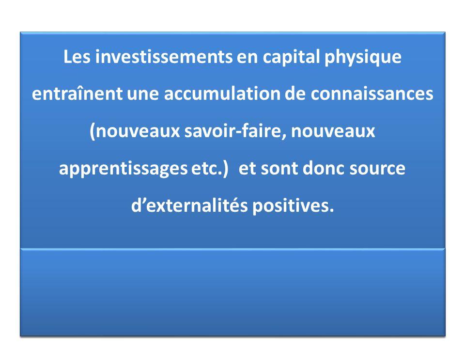 Les investissements en capital physique entraînent une accumulation de connaissances (nouveaux savoir-faire, nouveaux apprentissages etc.) et sont don
