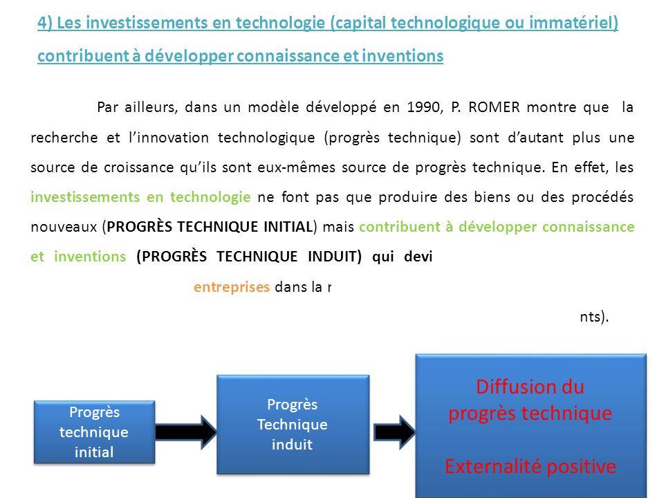 Par ailleurs, dans un modèle développé en 1990, P. ROMER montre que la recherche et linnovation technologique (progrès technique) sont dautant plus un