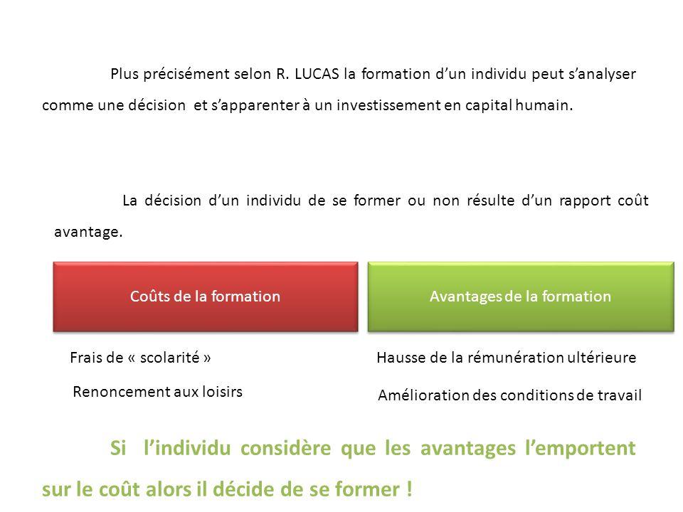 Plus précisément selon R. LUCAS la formation dun individu peut sanalyser comme une décision et sapparenter à un investissement en capital humain. La d