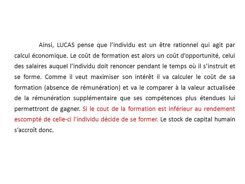 Ainsi, LUCAS pense que lindividu est un être rationnel qui agit par calcul économique. Le coût de formation est alors un coût dopportunité, celui des