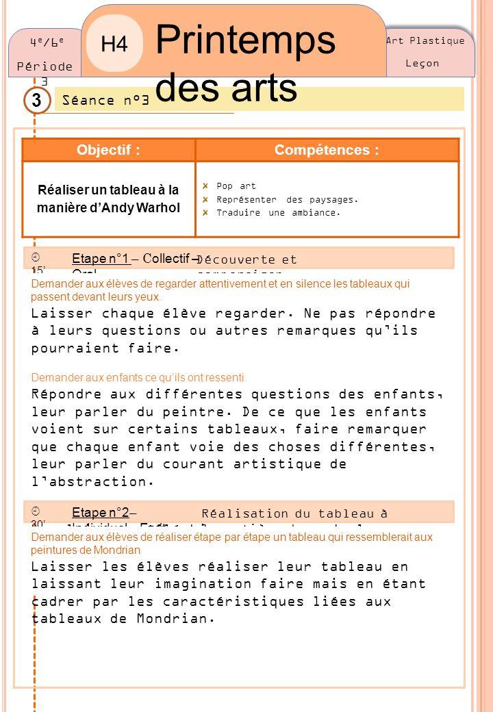 Art Plastique Leçon 3 Séance n°3 Printemps des arts H4 4 e /6 e Période 3 Objectif :Compétences : Réaliser un tableau à la manière dAndy Warhol Pop ar