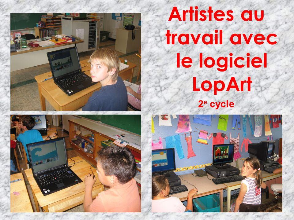 Artistes au travail avec le logiciel LopArt 2 e cycle