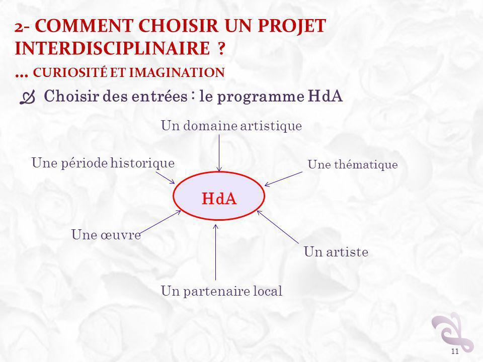 2- COMMENT CHOISIR UN PROJET INTERDISCIPLINAIRE ? … CURIOSITÉ ET IMAGINATION Choisir des entrées : le programme HdA 11 HdA Un domaine artistique Une p