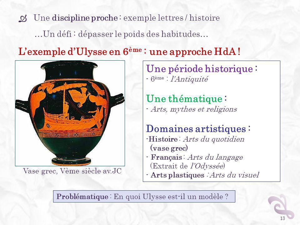 13 Une période historique : - 6 ème : lAntiquité Une thématique : - Arts, mythes et religions Domaines artistiques : -Histoire : Arts du quotidien (va
