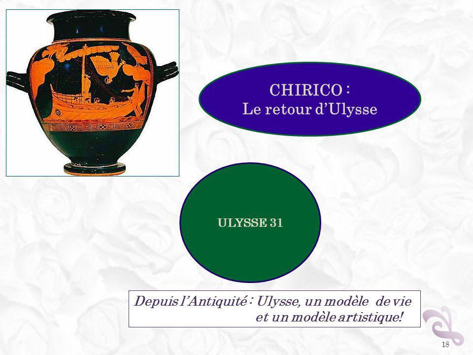 18 Depuis lAntiquité : Ulysse, un modèle de vie et un modèle artistique! CHIRICO : Le retour dUlysse ULYSSE 31