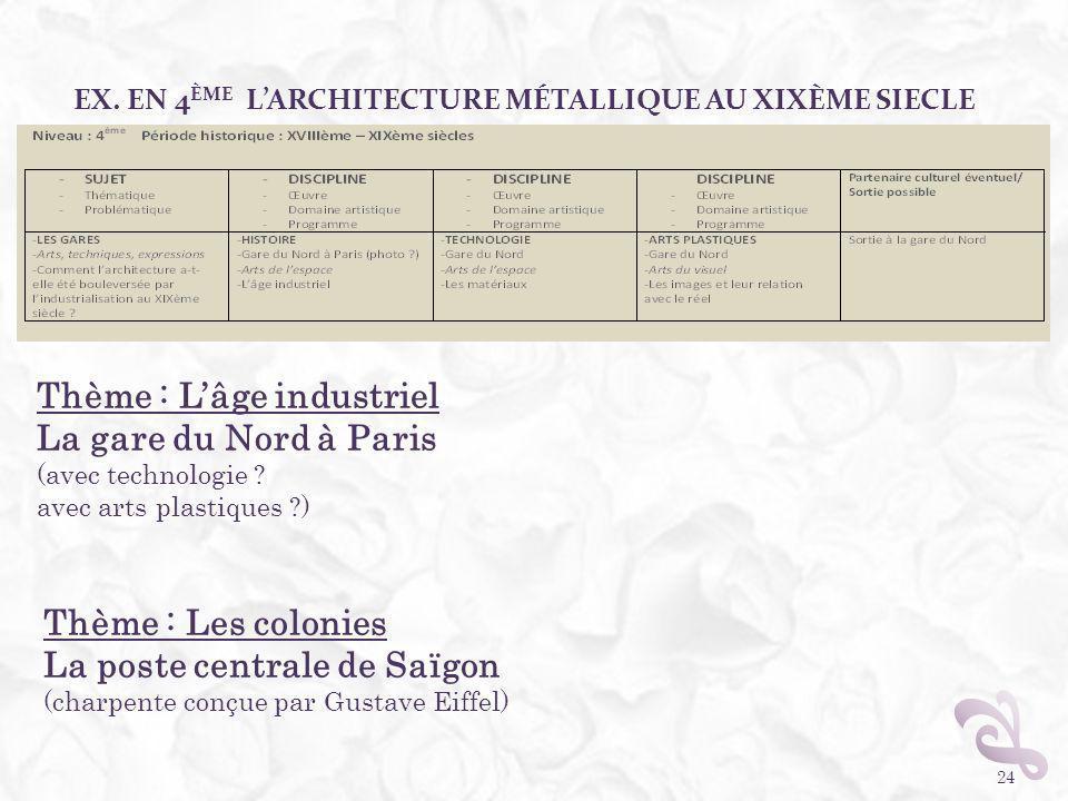 EX. EN 4 ÈME LARCHITECTURE MÉTALLIQUE AU XIXÈME SIECLE 24 Thème : Lâge industriel La gare du Nord à Paris (avec technologie ? avec arts plastiques ?)