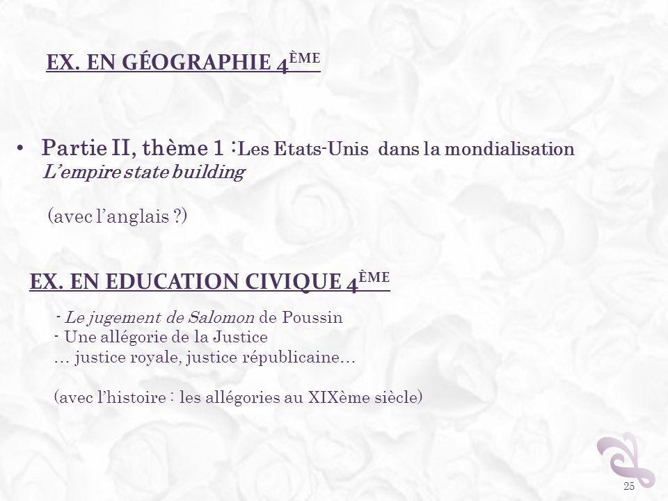 EX. EN GÉOGRAPHIE 4 ÈME 25 Partie II, thème 1 : Les Etats-Unis dans la mondialisation Lempire state building (avec langlais ?) EX. EN EDUCATION CIVIQU