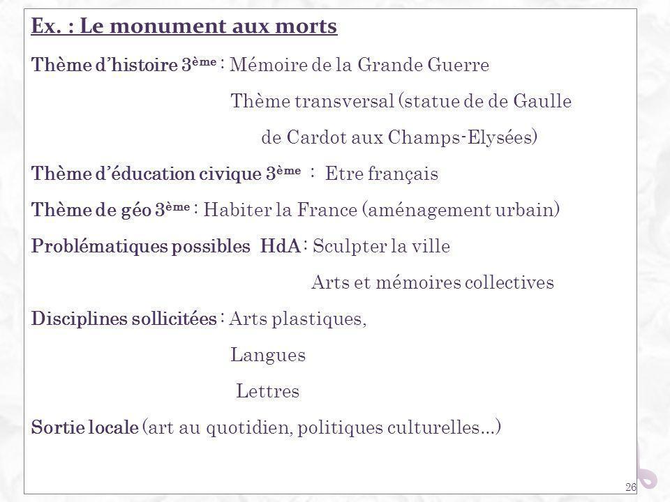 Ex. : Le monument aux morts Thème dhistoire 3 ème : Mémoire de la Grande Guerre Thème transversal (statue de de Gaulle de Cardot aux Champs-Elysées) T