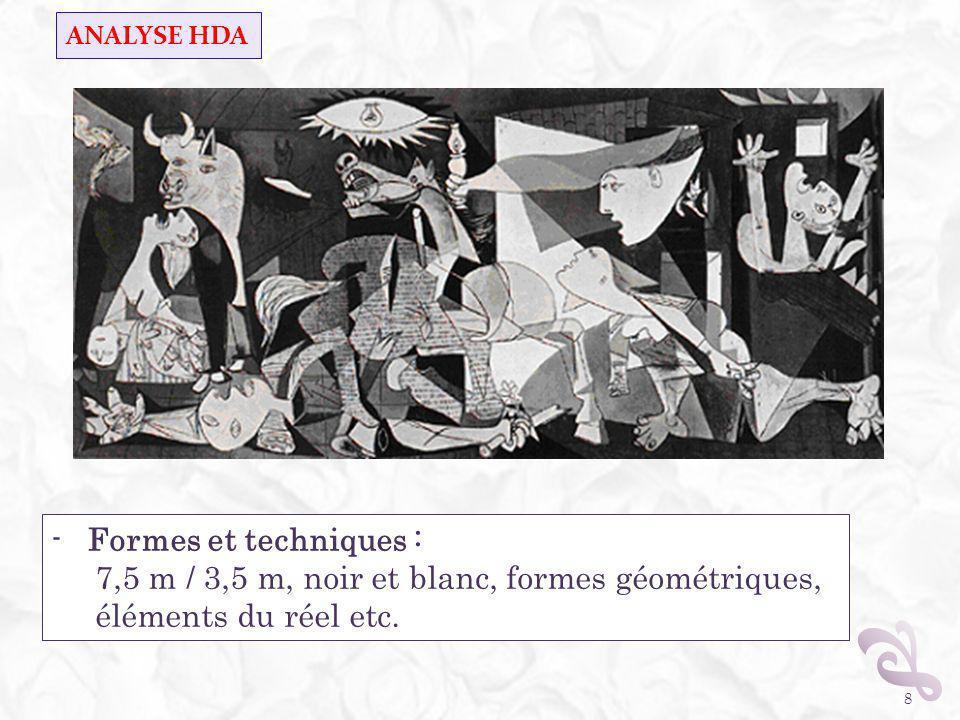 Contexte historique : 1937, guerre dEspagne 26 avril : bombardement de Guernica 1 er mai : début de lexécution de lœuvre (commande du gouvernement républicain) 25 mai : Exposition universelle de Paris au pavillon de lEspagne, en face de ceux de lAllemagne et de lURSS Picasso : un peintre qui dérange (retour sur Formes et techniques) 9 - Significations