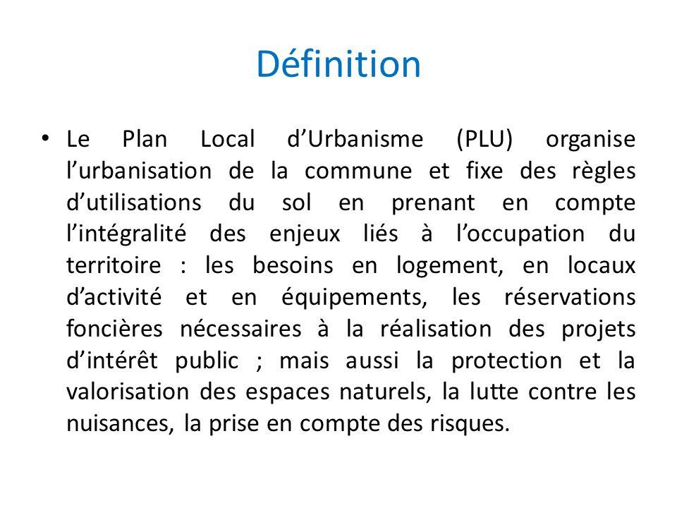 Définition Le Plan Local dUrbanisme (PLU) organise lurbanisation de la commune et fixe des règles dutilisations du sol en prenant en compte lintégrali