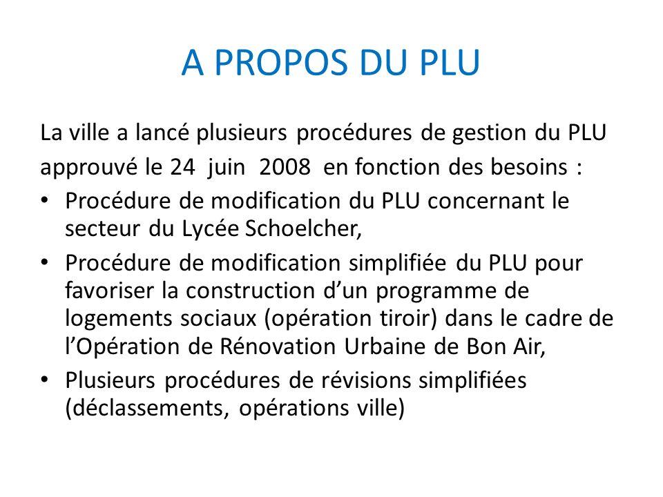 A PROPOS DU PLU La ville a lancé plusieurs procédures de gestion du PLU approuvé le 24 juin 2008 en fonction des besoins : Procédure de modification d