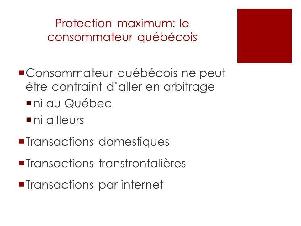 Protection maximum: le consommateur québécois Consommateur québécois ne peut être contraint daller en arbitrage ni au Québec ni ailleurs Transactions domestiques Transactions transfrontalières Transactions par internet