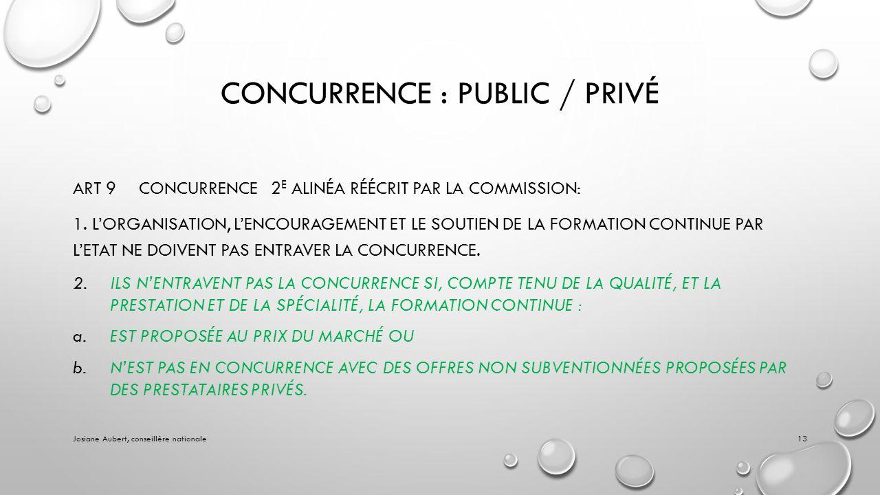 CONCURRENCE : PUBLIC / PRIVÉ ART 9CONCURRENCE2 E ALINÉA RÉÉCRIT PAR LA COMMISSION: 1.