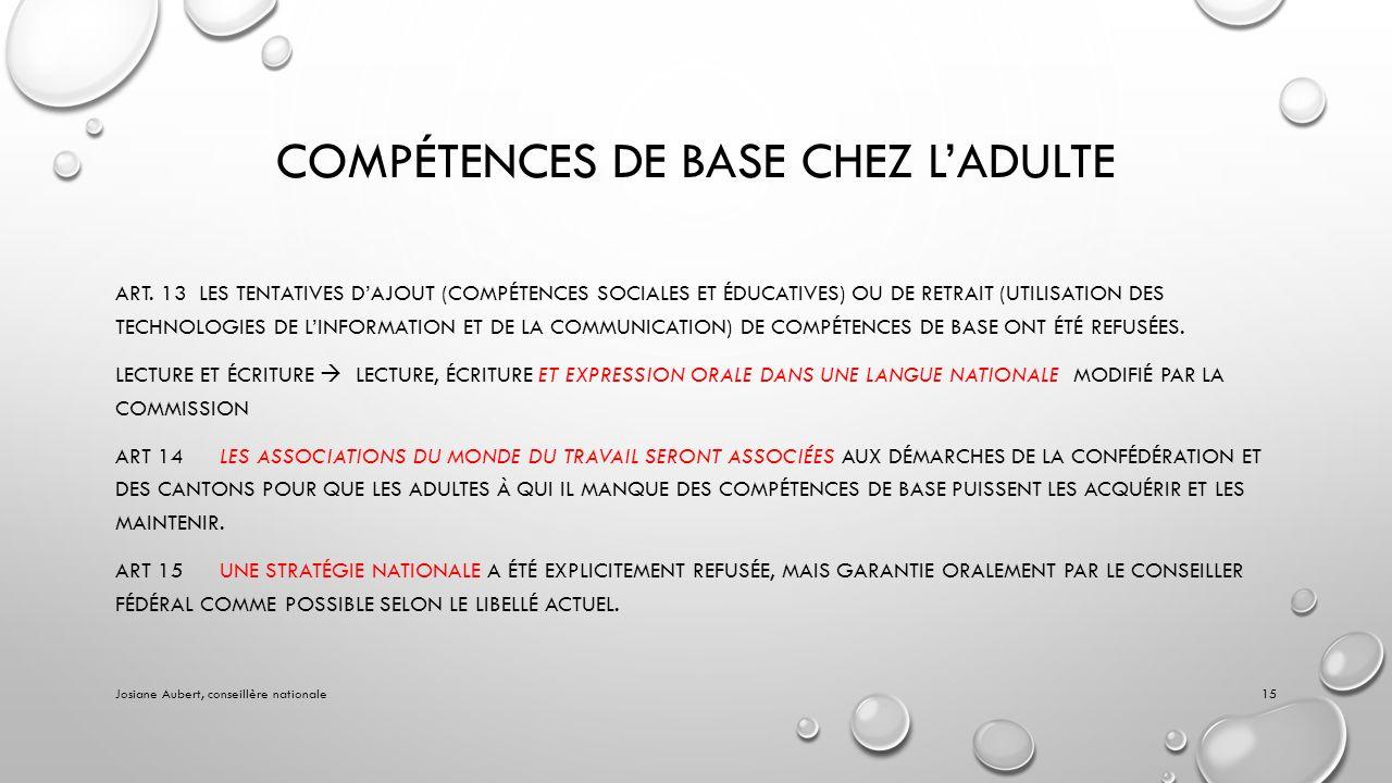 COMPÉTENCES DE BASE CHEZ LADULTE ART.