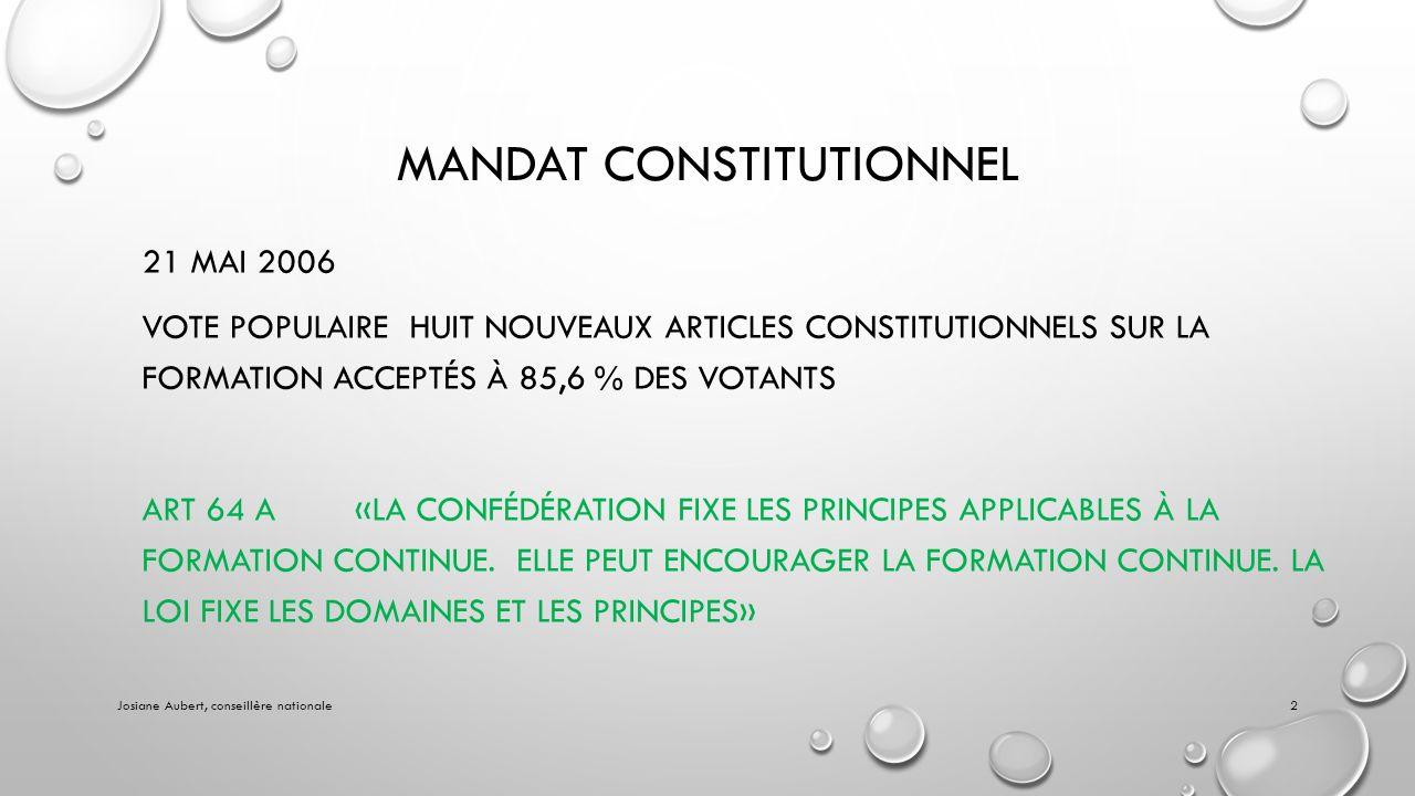 MANDAT CONSTITUTIONNEL 21 MAI 2006 VOTE POPULAIRE HUIT NOUVEAUX ARTICLES CONSTITUTIONNELS SUR LA FORMATION ACCEPTÉS À 85,6 % DES VOTANTS ART 64 A«LA CONFÉDÉRATION FIXE LES PRINCIPES APPLICABLES À LA FORMATION CONTINUE.