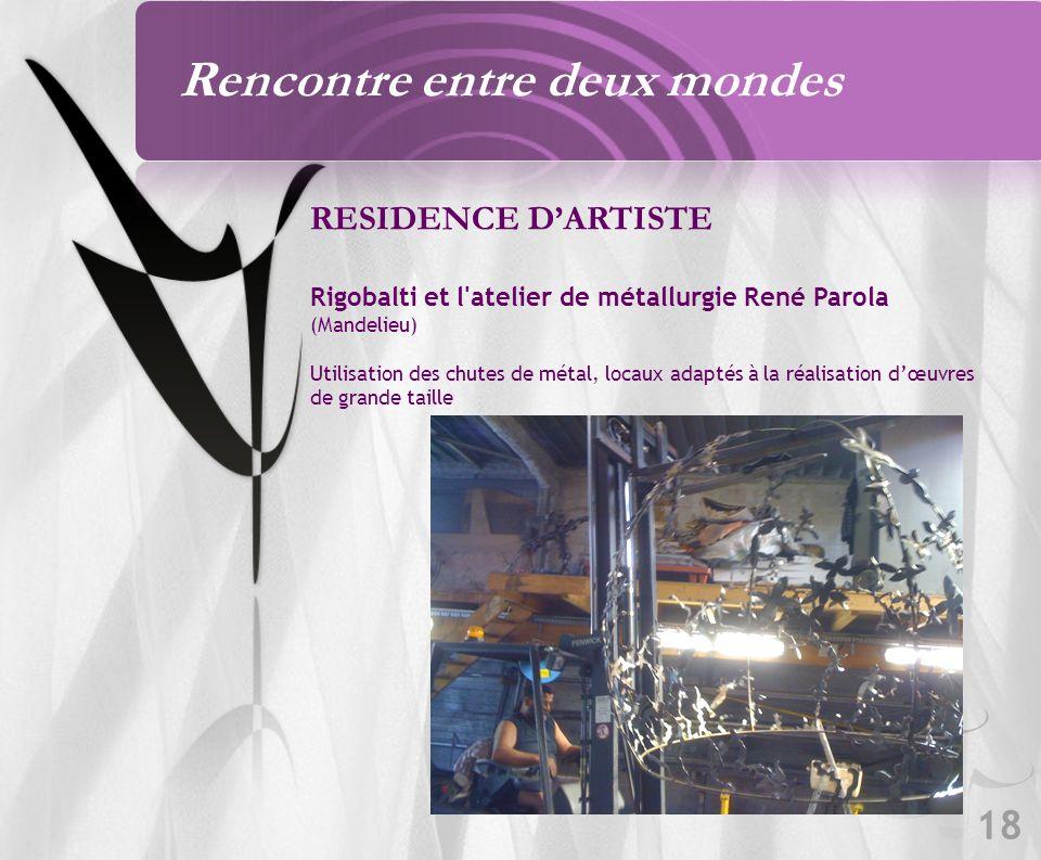 18 RESIDENCE DARTISTE Rigobalti et l atelier de métallurgie René Parola (Mandelieu) Utilisation des chutes de métal, locaux adaptés à la réalisation dœuvres de grande taille Rencontre entre deux mondes