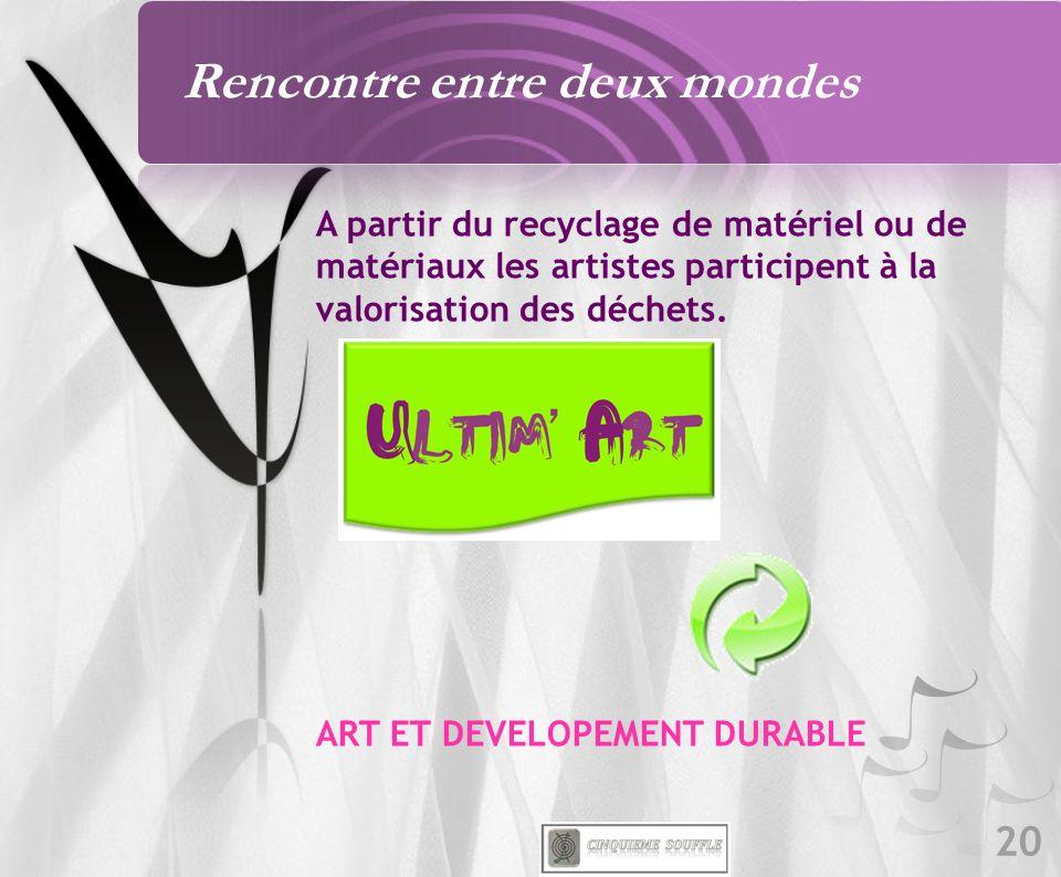 20 A partir du recyclage de matériel ou de matériaux les artistes participent à la valorisation des déchets. ART ET DEVELOPEMENT DURABLE Rencontre ent