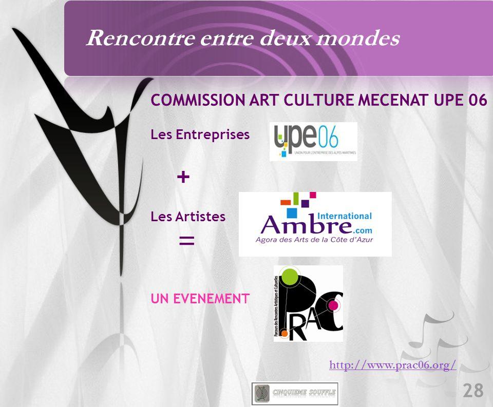 28 Rencontre entre deux mondes http://www.prac06.org/ COMMISSION ART CULTURE MECENAT UPE 06 Les Entreprises + Les Artistes = UN EVENEMENT