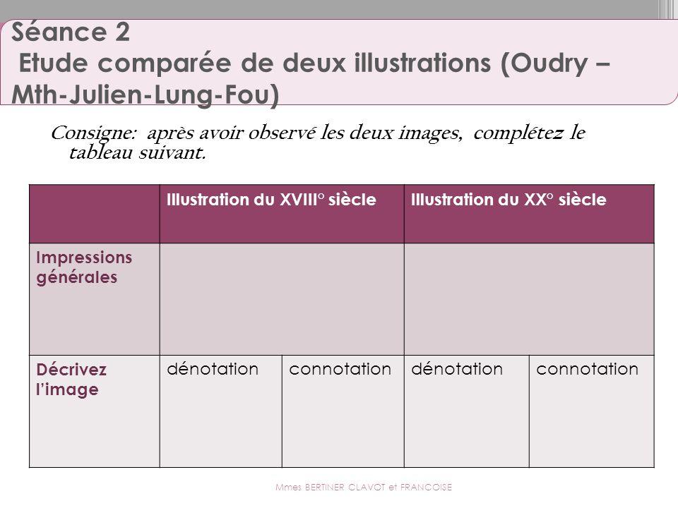 Séance 2 Etude comparée de deux illustrations (Oudry – Mth-Julien-Lung-Fou) Consigne: après avoir observé les deux images, complétez le tableau suivan