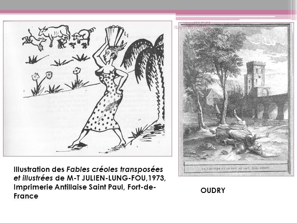 Illustration des Fables créoles transposées et illustrées de M-T JULIEN-LUNG-FOU,1973, Imprimerie Antillaise Saint Paul, Fort-de- France OUDRY Mmes BE