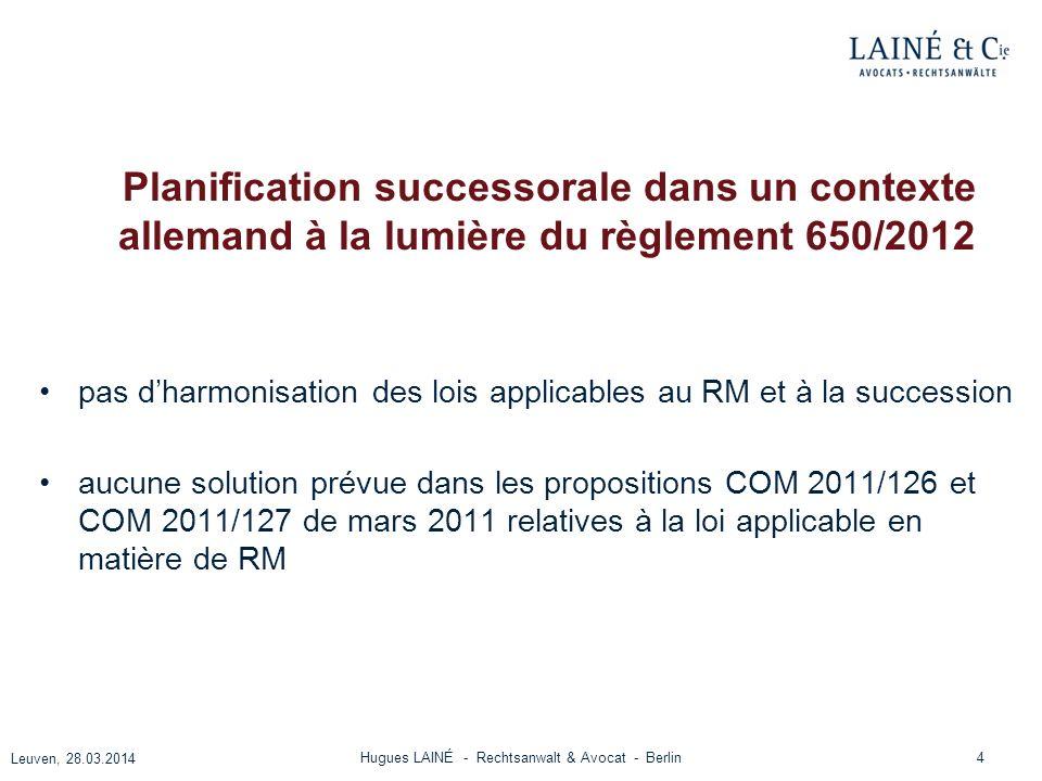 Planification successorale dans un contexte allemand à la lumière du règlement 650/2012 pas dharmonisation des lois applicables au RM et à la successi