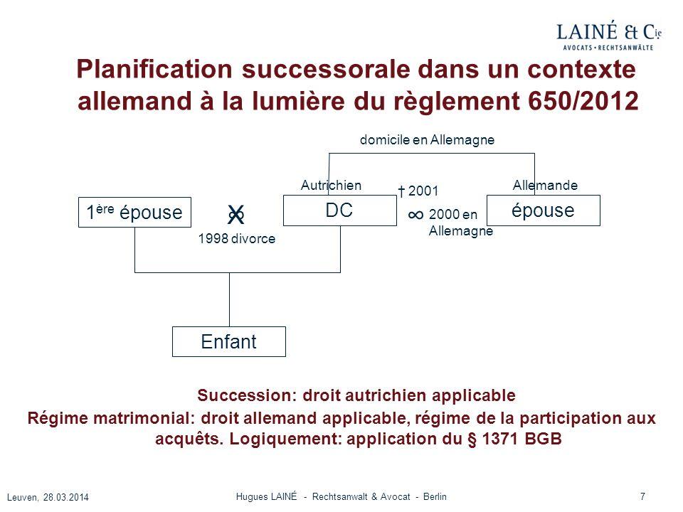 Planification successorale dans un contexte allemand à la lumière du règlement 650/2012 7 Leuven, 28.03.2014 Hugues LAINÉ - Rechtsanwalt & Avocat - Be