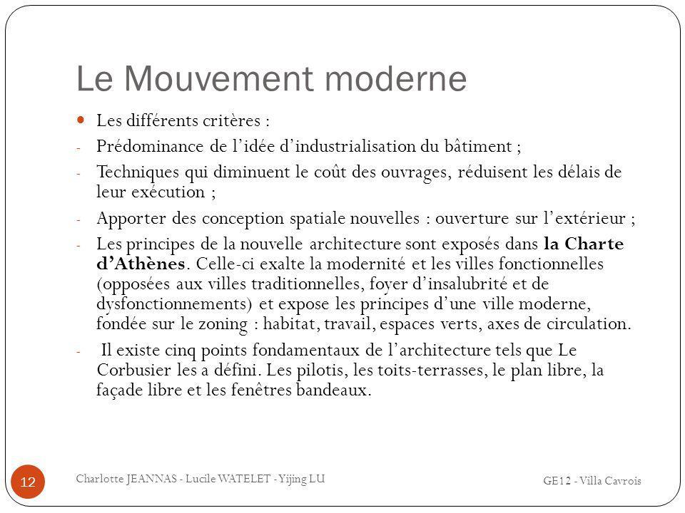 Le Mouvement moderne Les différents critères : - Prédominance de lidée dindustrialisation du bâtiment ; - Techniques qui diminuent le coût des ouvrage