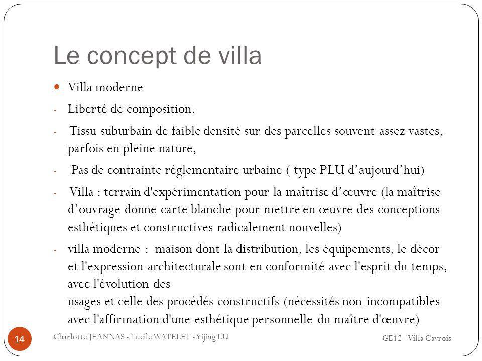 Le concept de villa Villa moderne - Liberté de composition. - Tissu suburbain de faible densité sur des parcelles souvent assez vastes, parfois en ple