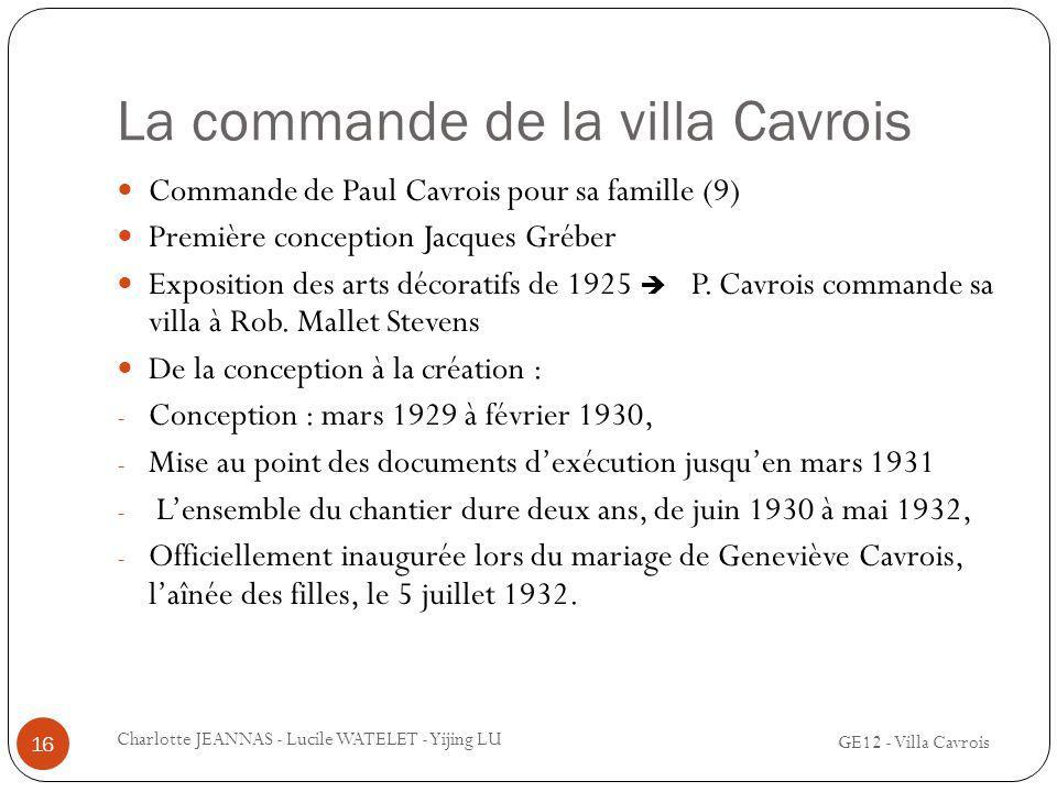 La commande de la villa Cavrois Commande de Paul Cavrois pour sa famille (9) Première conception Jacques Gréber Exposition des arts décoratifs de 1925
