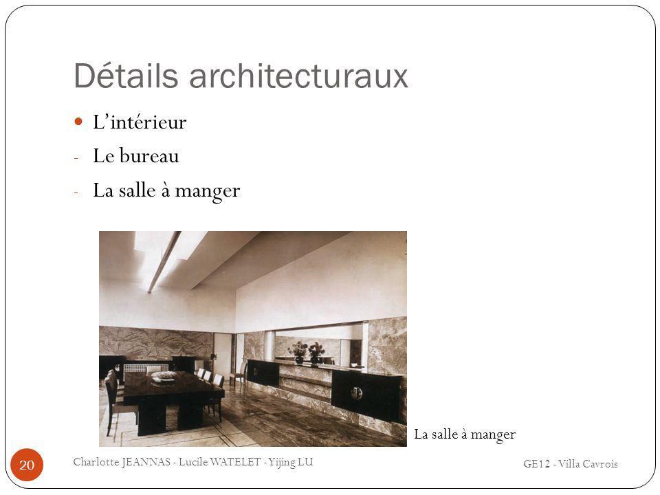 Détails architecturaux Lintérieur - Le bureau - La salle à manger 20 Charlotte JEANNAS - Lucile WATELET - Yijing LU GE12 - Villa Cavrois La salle à ma
